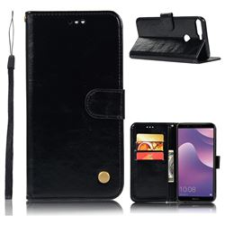 Luxury Retro Leather Wallet Case for Huawei Y7 Pro (2018) / Y7 Prime(2018) / Nova2 Lite - Black