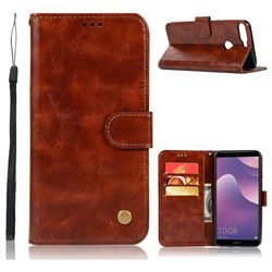 Luxury Retro Leather Wallet Case for Huawei Y7 Pro (2018) / Y7 Prime(2018) / Nova2 Lite - Brown