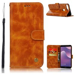 Luxury Retro Leather Wallet Case for Huawei Y7 Pro (2018) / Y7 Prime(2018) / Nova2 Lite - Golden