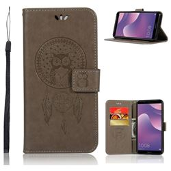 Intricate Embossing Owl Campanula Leather Wallet Case for Huawei Y7 Pro (2018) / Y7 Prime(2018) / Nova2 Lite - Grey
