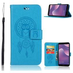 Intricate Embossing Owl Campanula Leather Wallet Case for Huawei Y7 Pro (2018) / Y7 Prime(2018) / Nova2 Lite - Blue