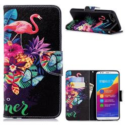 Flowers Flamingos Leather Wallet Case for Huawei Y7 Pro (2018) / Y7 Prime(2018) / Nova2 Lite