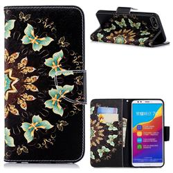 Circle Butterflies Leather Wallet Case for Huawei Y7 Pro (2018) / Y7 Prime(2018) / Nova2 Lite