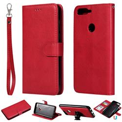 Retro Greek Detachable Magnetic PU Leather Wallet Phone Case for Huawei Y7 Pro (2018) / Y7 Prime(2018) / Nova2 Lite - Red