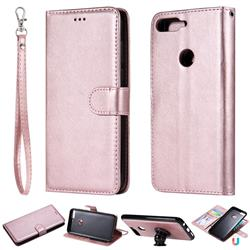 Retro Greek Detachable Magnetic PU Leather Wallet Phone Case for Huawei Y7 Pro (2018) / Y7 Prime(2018) / Nova2 Lite - Rose Gold