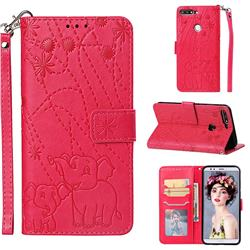 Embossing Fireworks Elephant Leather Wallet Case for Huawei Y7 Pro (2018) / Y7 Prime(2018) / Nova2 Lite - Red