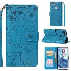 Embossing Fireworks Elephant Leather Wallet Case for Huawei Y7 Pro (2018) / Y7 Prime(2018) / Nova2 Lite - Blue