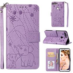 Embossing Fireworks Elephant Leather Wallet Case for Huawei Y7 Pro (2018) / Y7 Prime(2018) / Nova2 Lite - Purple