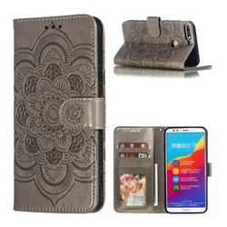 Intricate Embossing Datura Solar Leather Wallet Case for Huawei Y7 Pro (2018) / Y7 Prime(2018) / Nova2 Lite - Gray