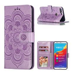 Intricate Embossing Datura Solar Leather Wallet Case for Huawei Y7 Pro (2018) / Y7 Prime(2018) / Nova2 Lite - Purple