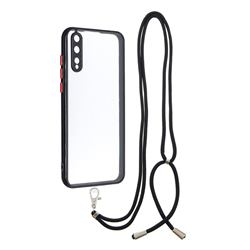 Necklace Cross-body Lanyard Strap Cord Phone Case Cover for Huawei Y8p - Black