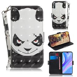 Angry Bear 3D Painted Leather Wallet Phone Case for Huawei Y8p