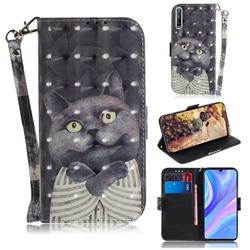 Cat Embrace 3D Painted Leather Wallet Phone Case for Huawei Y8p