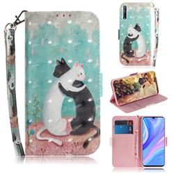 Black and White Cat 3D Painted Leather Wallet Phone Case for Huawei Y8p