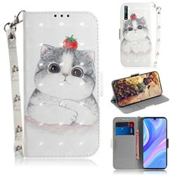 Cute Tomato Cat 3D Painted Leather Wallet Phone Case for Huawei Y8p