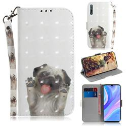 Pug Dog 3D Painted Leather Wallet Phone Case for Huawei Y8p