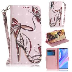 Butterfly High Heels 3D Painted Leather Wallet Phone Case for Huawei Y8p