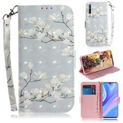 Magnolia Flower 3D Painted Leather Wallet Phone Case for Huawei Y8p