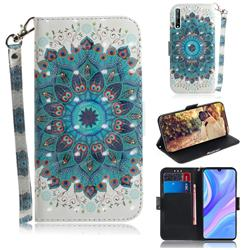 Peacock Mandala 3D Painted Leather Wallet Phone Case for Huawei Y8p