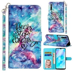 Blue Starry Sky 3D Leather Phone Holster Wallet Case for Huawei Y8p