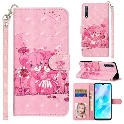 Pink Bear 3D Leather Phone Holster Wallet Case for Huawei Y8p