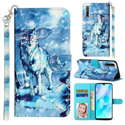 Snow Wolf 3D Leather Phone Holster Wallet Case for Huawei Y8p