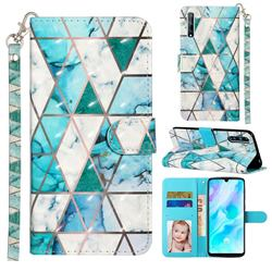 Stitching Marble 3D Leather Phone Holster Wallet Case for Huawei Y8p