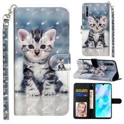 Kitten Cat 3D Leather Phone Holster Wallet Case for Huawei Y8p