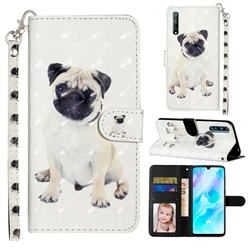 Pug Dog 3D Leather Phone Holster Wallet Case for Huawei Y8p