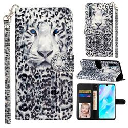 White Leopard 3D Leather Phone Holster Wallet Case for Huawei Y8p