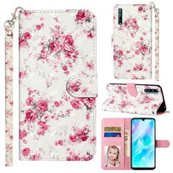 Rambler Rose Flower 3D Leather Phone Holster Wallet Case for Huawei Y8p
