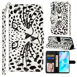 Leopard Panther 3D Leather Phone Holster Wallet Case for Huawei Y8p