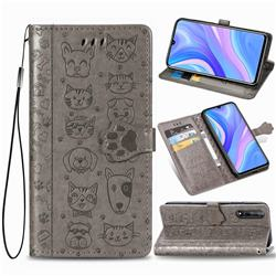 Embossing Dog Paw Kitten and Puppy Leather Wallet Case for Huawei Y8p - Gray