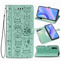 Embossing Dog Paw Kitten and Puppy Leather Wallet Case for Huawei Y8p - Green