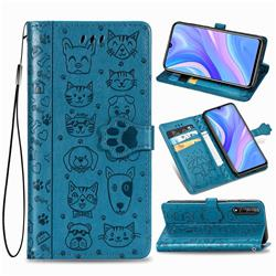 Embossing Dog Paw Kitten and Puppy Leather Wallet Case for Huawei Y8p - Blue