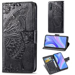 Embossing Mandala Flower Butterfly Leather Wallet Case for Huawei Y8p - Black