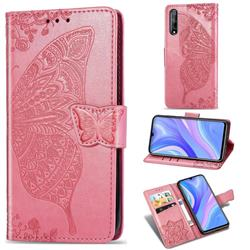 Embossing Mandala Flower Butterfly Leather Wallet Case for Huawei Y8p - Pink