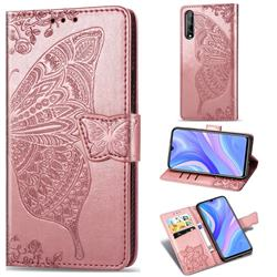 Embossing Mandala Flower Butterfly Leather Wallet Case for Huawei Y8p - Rose Gold