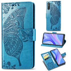 Embossing Mandala Flower Butterfly Leather Wallet Case for Huawei Y8p - Blue