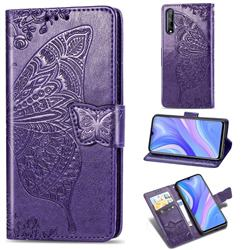 Embossing Mandala Flower Butterfly Leather Wallet Case for Huawei Y8p - Dark Purple