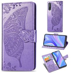 Embossing Mandala Flower Butterfly Leather Wallet Case for Huawei Y8p - Light Purple