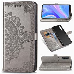 Embossing Imprint Mandala Flower Leather Wallet Case for Huawei Y8p - Gray