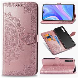 Embossing Imprint Mandala Flower Leather Wallet Case for Huawei Y8p - Rose Gold
