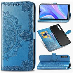 Embossing Imprint Mandala Flower Leather Wallet Case for Huawei Y8p - Blue