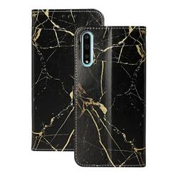 Black Gold Marble PU Leather Wallet Case for Huawei Y8p