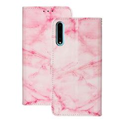Pink Marble PU Leather Wallet Case for Huawei Y8p