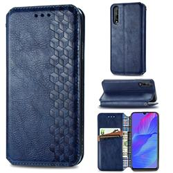 Ultra Slim Fashion Business Card Magnetic Automatic Suction Leather Flip Cover for Huawei Y8p - Dark Blue