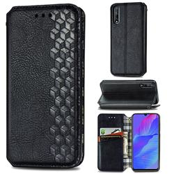 Ultra Slim Fashion Business Card Magnetic Automatic Suction Leather Flip Cover for Huawei Y8p - Black