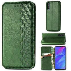 Ultra Slim Fashion Business Card Magnetic Automatic Suction Leather Flip Cover for Huawei Y8p - Green