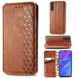 Ultra Slim Fashion Business Card Magnetic Automatic Suction Leather Flip Cover for Huawei Y8p - Brown